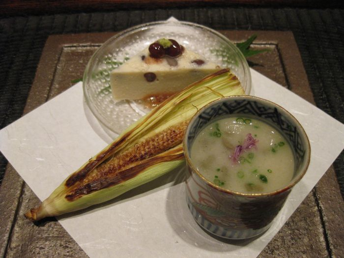 Kajitsu bean cake, baby corn and parsley root soup